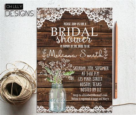 free printable bridal shower invitations rustic rustic bridal shower invitation printable baby s breath