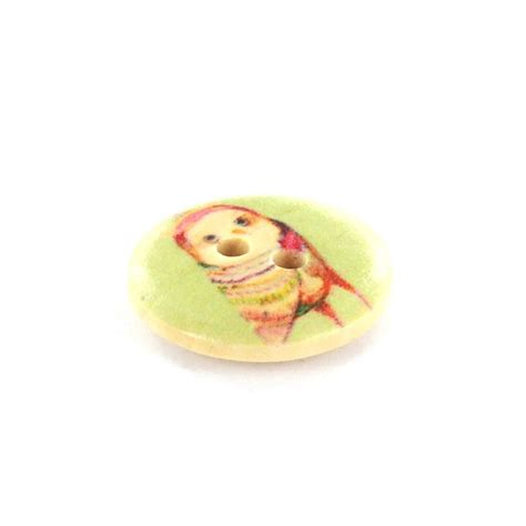 Owl Wooden Button owl wooden button rounded shaped multicolored ma