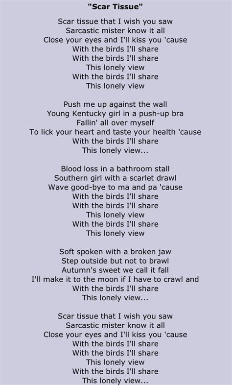 chili peppers the bridge testo scar tissue chili peppers lyrics lyrics