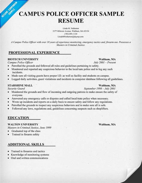 Police Officer Resume Examples by Campus Police Jobs Security Guards Companies