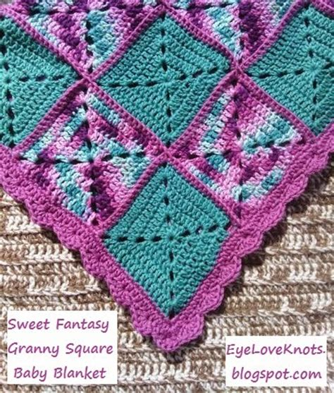 Free Square Baby Blanket Pattern by Eyeloveknots Sweet Square Baby Blanket