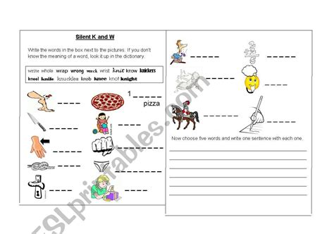 worksheets silent k and silent w words