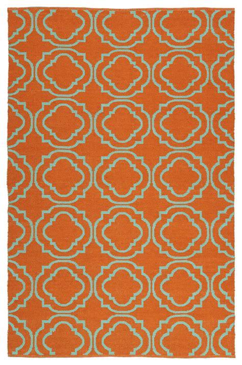 Turquoise And Orange Rug brisa quatrefoil rug in orange and turquoise