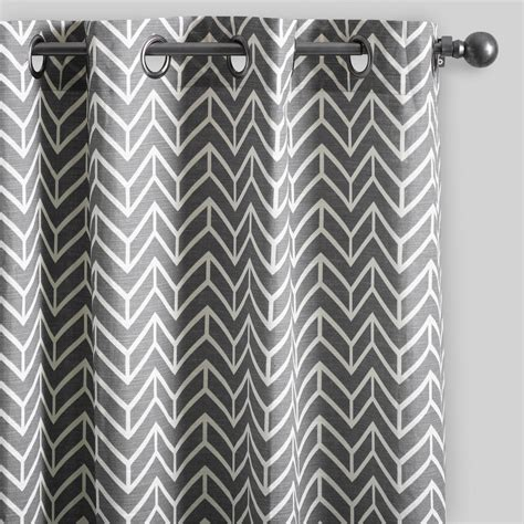 Gray Blue Curtains Designs Charcoal Gray Arrow Cotton Curtains Set Of 2 World Market