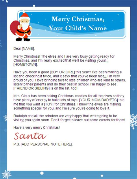 printable personalized letters from santa santa sle letters new sibling letter from santa claus