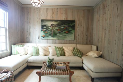 wood paneled family room cottage living room