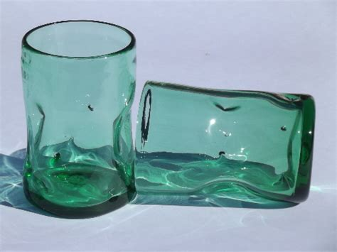Modern Bar Glassware Pinch Shape Green Glass Tumblers Retro Mid Century Modern