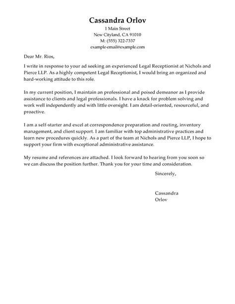 Construction Receptionist Cover Letter by Receptionist Cover Letter Exles Cover