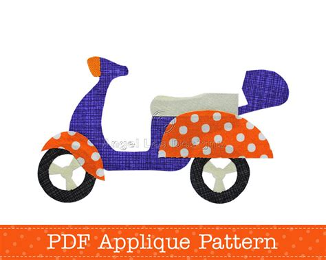 applique template scooter applique template pdf pattern diy make your own fabric