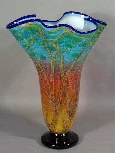 fluted vase savanna sunset a ellinger glass quest