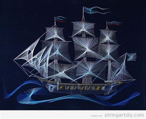 String Ship - sailing ship string string diy free patterns