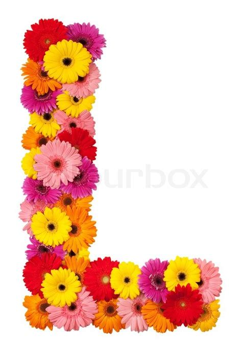 picture of a l letter l flower alphabet isolated on white background