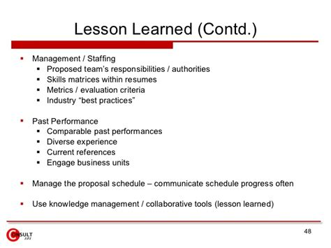lessons learned best practices template management process