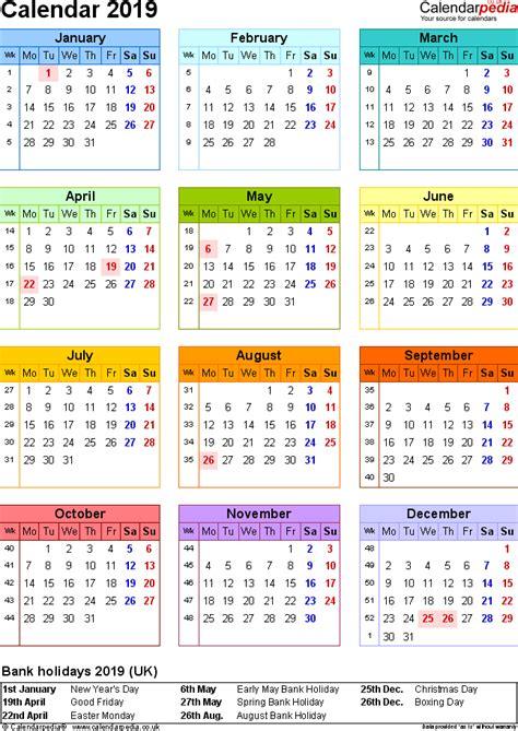 Excel Calendar 2019 Uk 16 Printable Templates Xlsx Free 2019 Calendar Template Excel
