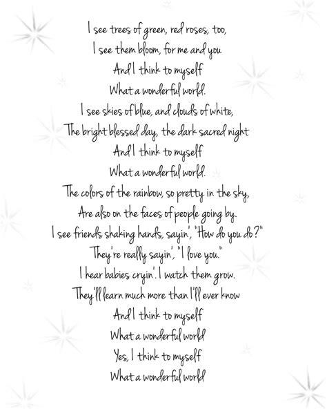 printable lyrics what a wonderful world chandeliers pendant lights