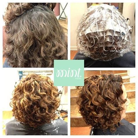 curly perm before and after before and after pintura from mint salon in rochester ny