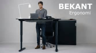 Standing Work Desk Ikea The New Ikea Bekant Sit Stand Desk Can Be Adjusted With The Push Of A Button