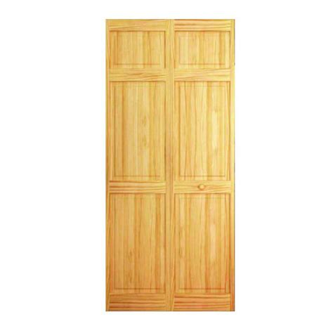 Wooden Bifold Closet Doors Bay 32 In X 80 In 32 In Clear 6 Panel Solid Unfinished Wood Interior Closet Bi