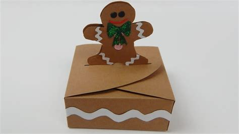 How To Make Small Gift Boxes From Christmas Cards - how to make a small gingerbread man christmas gift box diy tutorial free pattern