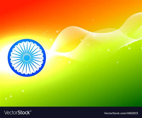 tri color indian flag wheel with wave in tricolor background