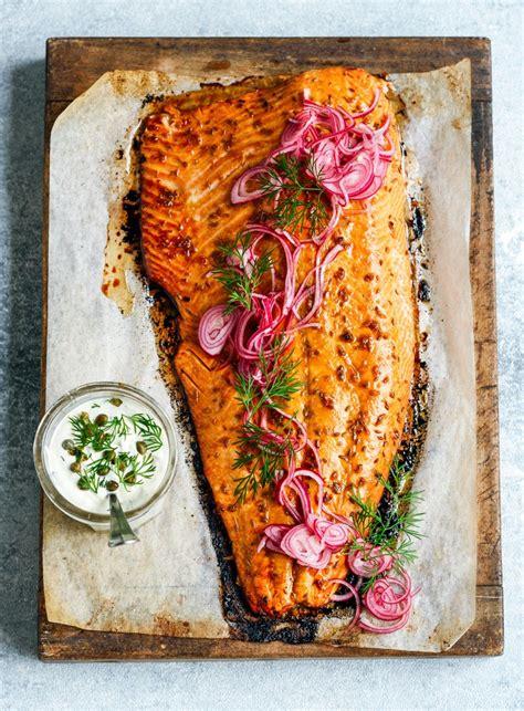 roast salmon  pomegranate glaze  herby mayo dish