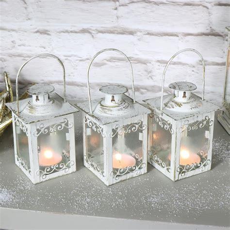 Deepa Candleholder Golden White Set Of 3 set of 3 small white gold lantern candle holder display decoration ebay