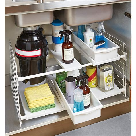 kitchen sink cabinet organizer iris expandable under sink organizer the container store
