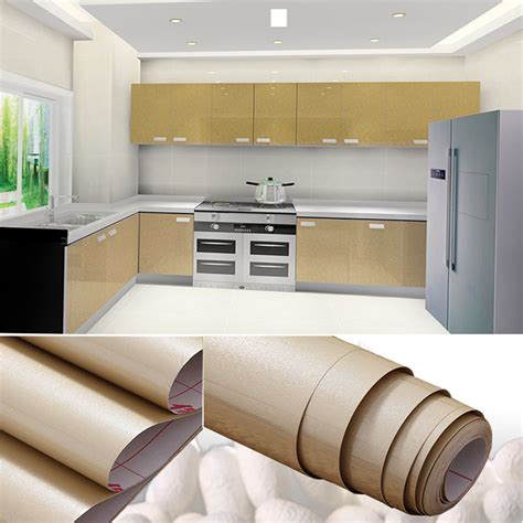 Pvc Shelf Liner by Yazi Glossy Chagne Removable Pvc Shelf Liner Sticker Drawer Kitchen Cupboard Door Cover Wall