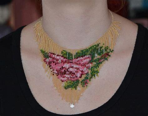 beadwork rose beadwork necklace beadweaving fringe necklace seed