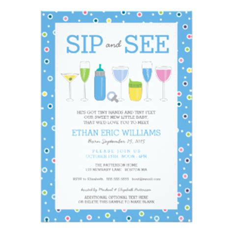 Sip And See Invitations Announcements Zazzle Sip And See Invitation Templates