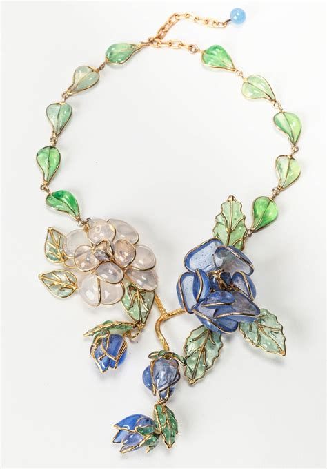enamel flowers for jewelry chanel glass enamel flower necklace for sale at 1stdibs