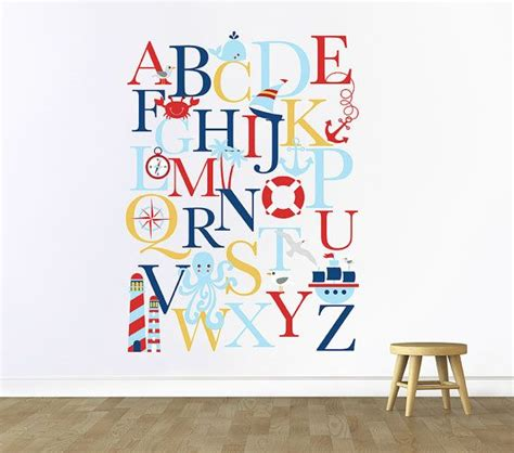 alphabet wall decal alphabet decal nautical nursery
