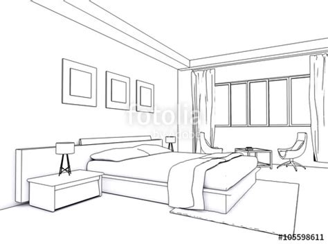 sketch of a bedroom quot architectural interior drawing bedroom sketch quot stock