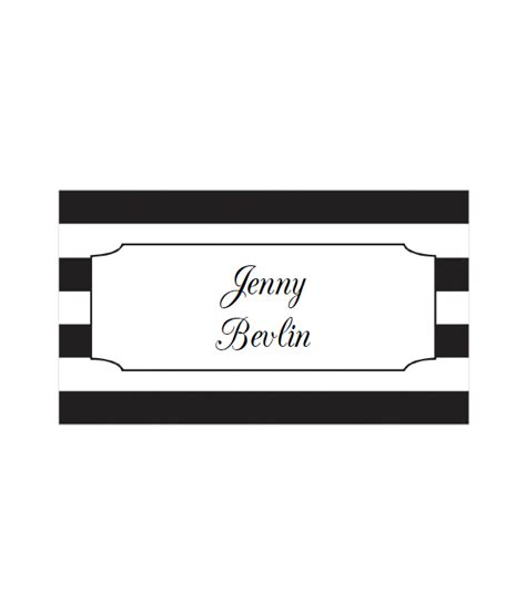 Black And White Place Cards Template by Striped Place Cards In 12 Colors Chicfetti