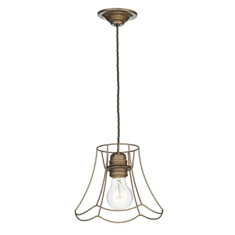 Pendant Light Cable Bronze L Shade Cage Ceiling Pendant Light On Brown Cord Cable