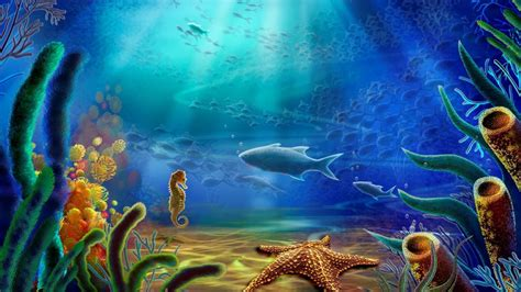 Free Wallpaper Underwater Scene | hd cartoon art vector color ocean underwater gallery