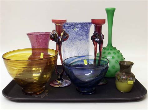 Coloured Glass Bowls Vases Strathearn Glass Vase Together With Three Other Coloured
