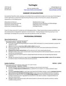 Sharepoint Developer Sle Resume by Ted Hagler Microsoft Sharepoint Resume