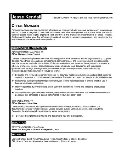 free office manager resume exle