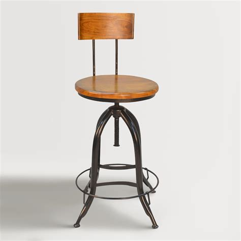 Stool Wood And Metal by Wood And Metal Adjustable Stool With Back World Market