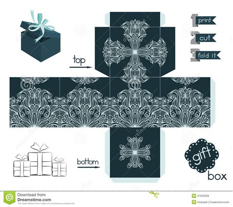 pattern for fold up box printable gift box with line art pattern stock vector