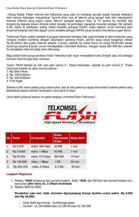 Paket Modem Telkomsel Flash cara daftar paket unlimited flash telkomsel