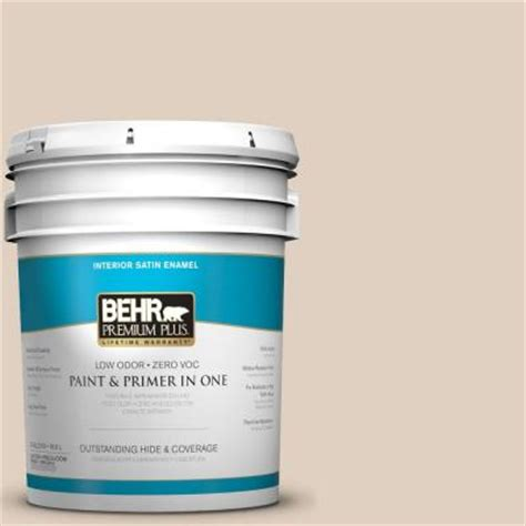 behr premium plus 5 gal n240 2 adobe sand satin enamel interior paint 705005 the home depot