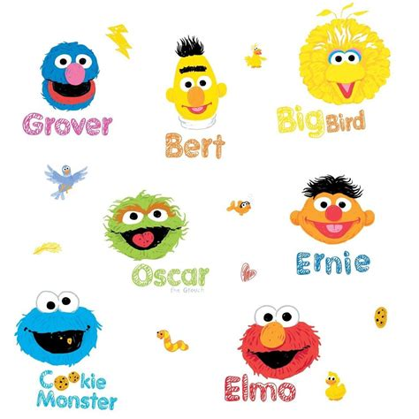 sesame street 26 big wall decals elmo big bird oscar