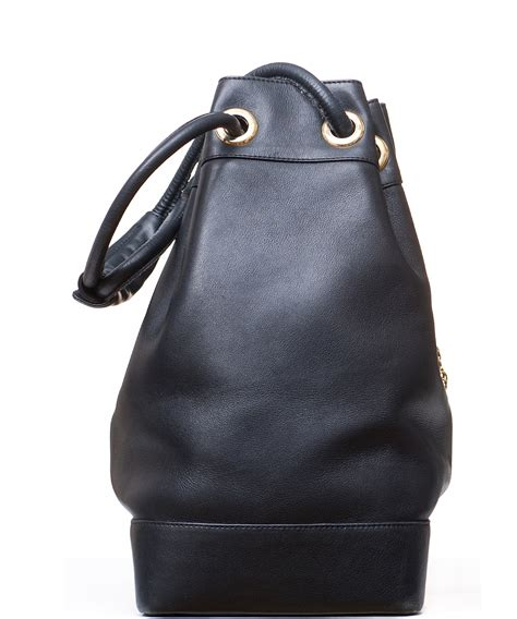 Couture Tinsley Leather Handbag by Gianni Versace Couture Black Leather Medusa Drawstring Bag