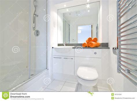 modern bathroom in white large shower room stock images