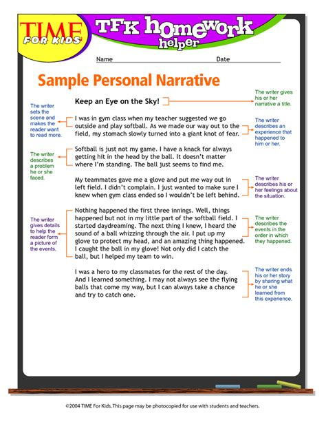personal narrative writing paper sle personal narrative essay outline