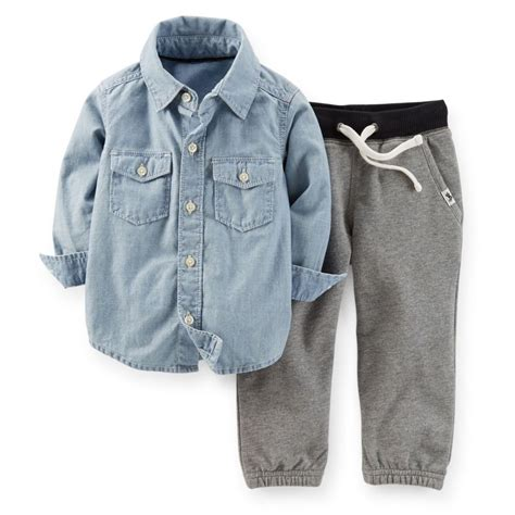 Carters Pant 3 In 1 24 Month carters 3 6 9 12 18 24 months chambray shirt set baby boy clothes gray ebay