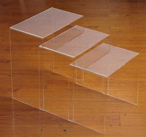 acrylic nesting end 3pc clear acrylic stacking nesting set end