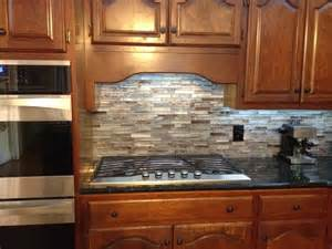 Metal Wall Tiles Kitchen Backsplash Floreste Verde Granite Amp Glass Mosaic Backsplash